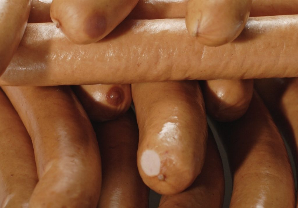Sausages, close-up, full frame